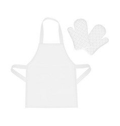 White blank apron and protective mittens vector
