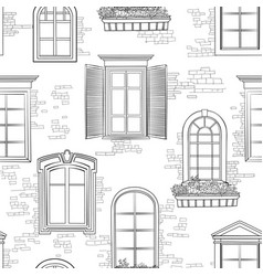 Window seamless doodle pattern different vector