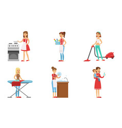 women cleaning home and doing housework set vector image