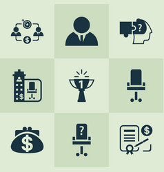Work icons set with office chair problem solving vector