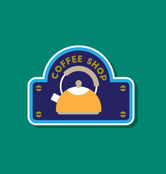 paper sticker on stylish background coffee shop vector image vector image
