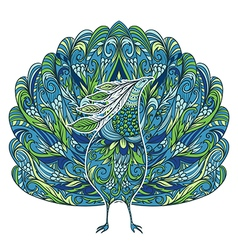 peacock vintage fantasy bird with floral ornament vector image vector image