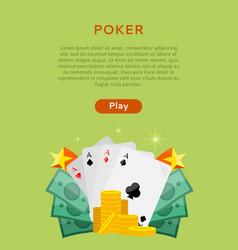 pocker online games dice casino banners set vector image vector image