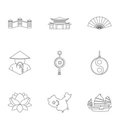 chinese icon set outline style vector image vector image