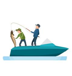 Fishermen caught fish putting catfish in boat vector