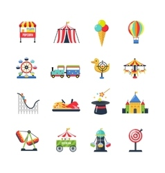 Flat Color Isolated Amusement Park Icons vector image