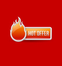 Glossy hot offer icon and button vector image vector image