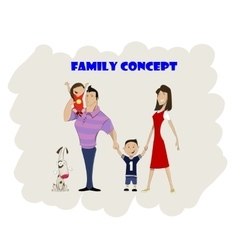 Happy family of four and dog vector image