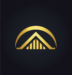 house building gold logo vector image vector image