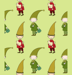 seamless pattern with cute gnome and bird vector image