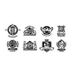 set of logos mountain bike bicycle racer eagle vector image