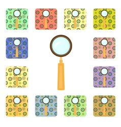 Set of magnifier icons vector image vector image