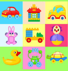 funny colorful toys for little kids vector image vector image
