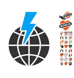 global shock icon with valentine bonus vector image