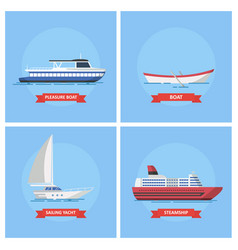 icons marine ships and boats in a flat style vector image
