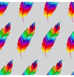 Seamless pattern with rainbow feathers vector image vector image