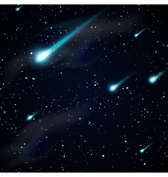 Falling stars meteors or comets Starry night sky vector image