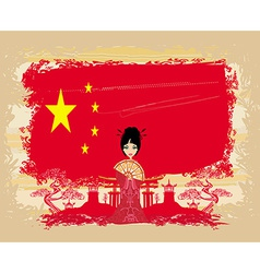 grunge abstract landscape with Asian girl and flag vector image vector image