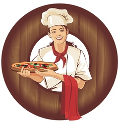 pizza girl in brown wooden frame vector image vector image