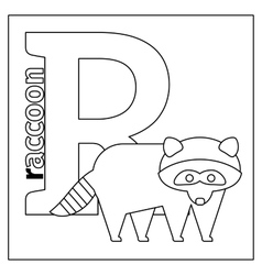 Raccoon letter R coloring page vector image