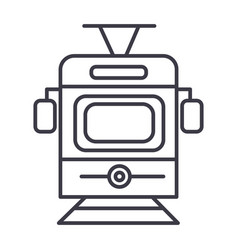 traintram front view line icon sign vector image vector image