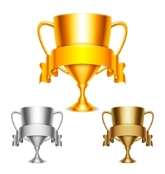 Trophy Cups with Ribbons vector image vector image