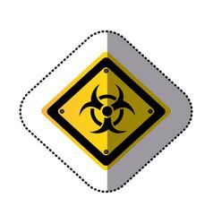 yellow metal biohazard warning sign icon vector image vector image
