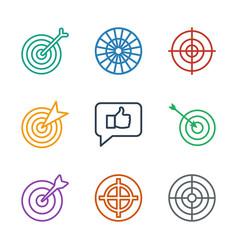 9 dartboard icons vector