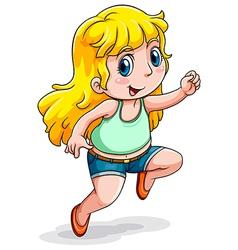 A Caucasian girl dancing vector image