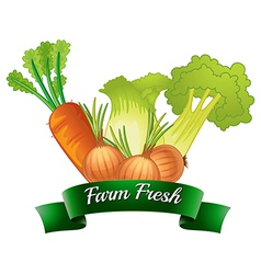 A farm fresh label with fresh vegetables vector