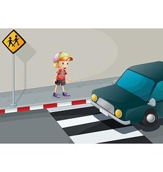 A young boy at the pedestrian lane vector
