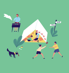 active family resting at camping together vector image