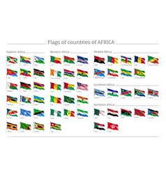 Africa flags big set vector
