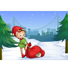 An elf with a red sack full of gifts vector image