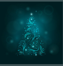 background with a christmas tree vector image