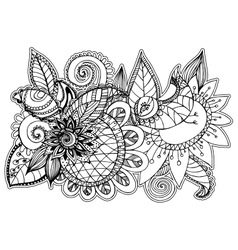 beautiful floral patterns style zentangl vector image