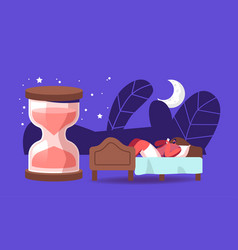 Biological clock night dream nap bedding time vector