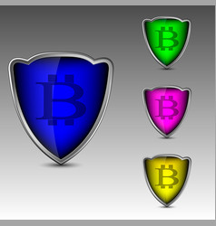 Bitcoin logo in shields vector