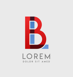bl logo letters with blue and red gradation vector image