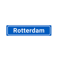 blue and white city sign of rotterdam vector image
