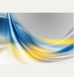 Blue and yellow abstract waves background vector