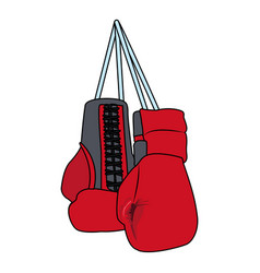 Boxing gloves hanging icon vector