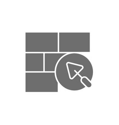 brick wall with putty knife repair bricklaying vector image