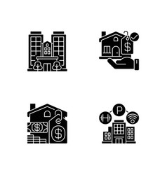 Business property black glyph icons set on white vector