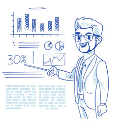 businessman presenting business company vector image