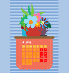 calendar for the summer month july vector image