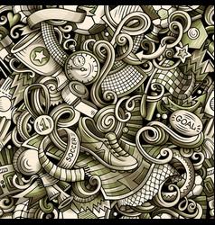cartoon doodles football seamless pattern vector image