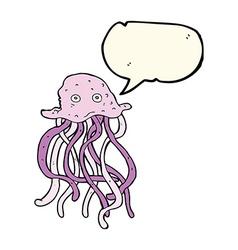 Cartoon octopus with speech bubble vector