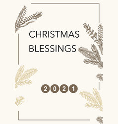 Christmas 2021 greeting card frame with twigs and vector