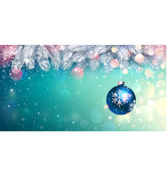 christmas blue ball with spruce branches and vector image